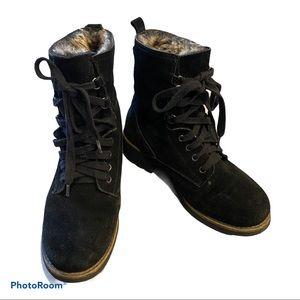 Aldo Suede lined/Faux Fur Black Ankle Combat Boots